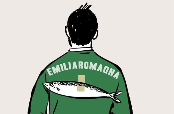 vignetta salvini felpa emilia romagna con sardina